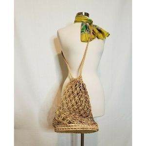Vintage Rafia Woven Market Bag - See Through 70s